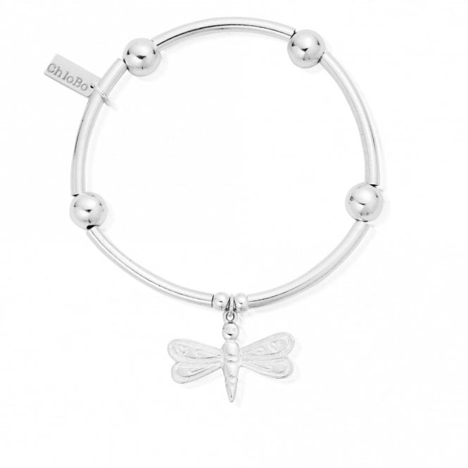 ChloBo Noodle Ball Dragonfly Bracelet in Silver
