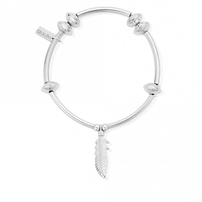 ChloBo Noodle Disc Feather Bracelet in Silver