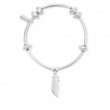 Noodle Disc Feather Bracelet in Silver