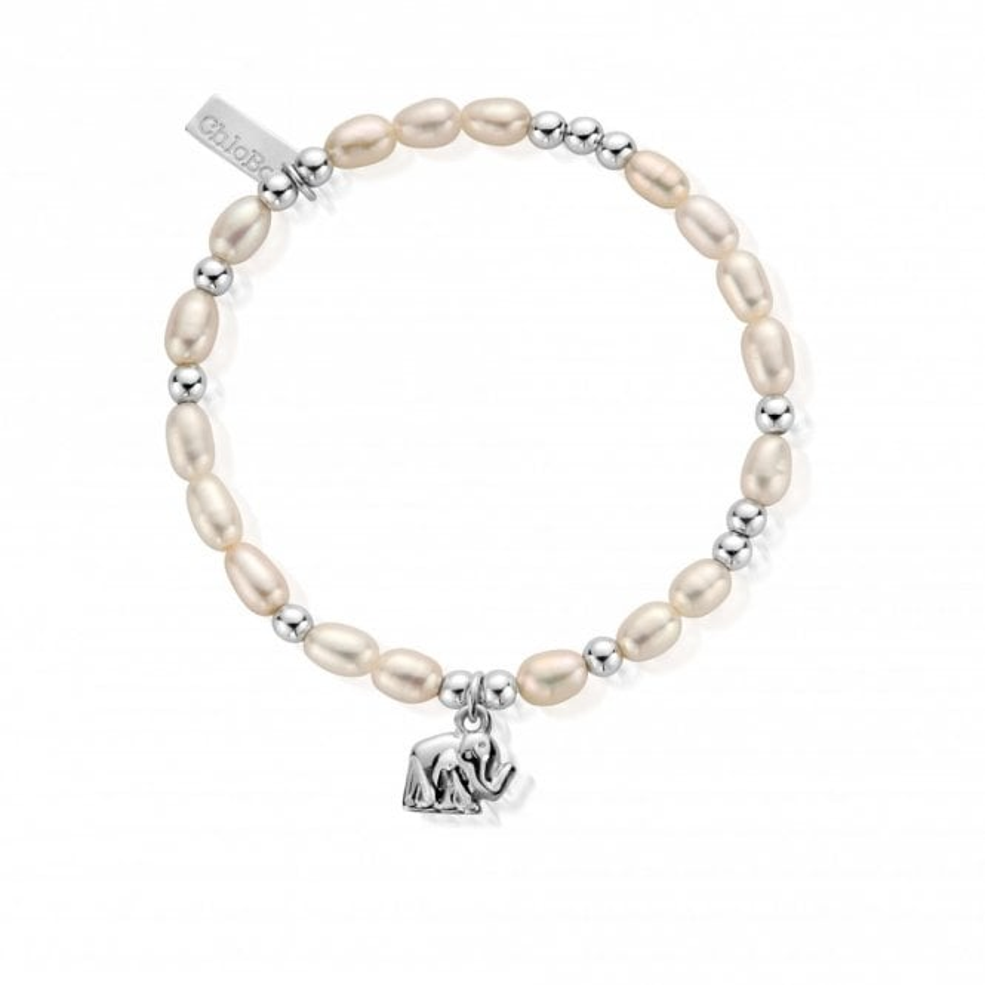 ChloBo Pearl Elephant Mini Bracelet in Silver