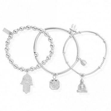 Set of 3 Karma Bracelets in Silver