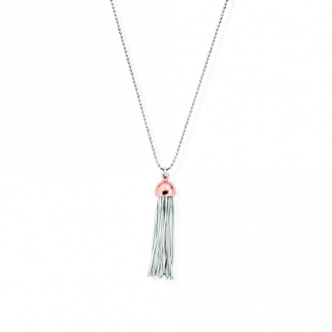 ChloBo Silver Necklace with Rose Gold Tassel Pendant