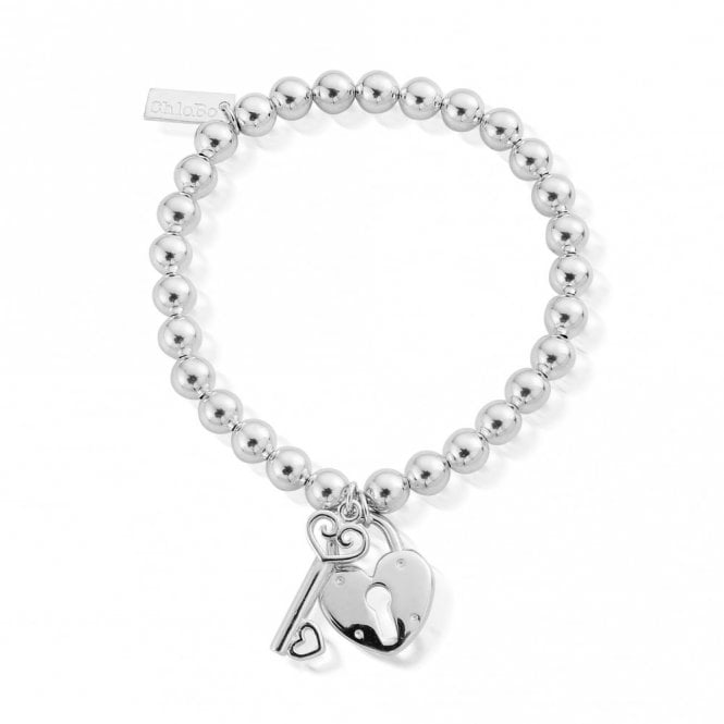 ChloBo Small Ball Lock and Key Bracelet in Silver
