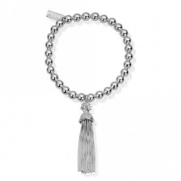 Small Ball Pineapple Tassel Bracelet in Silver
