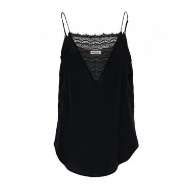 Elvira Lace Slip Top in Black