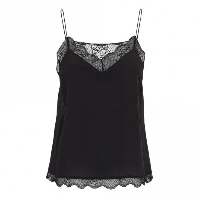Custommade Pouline Lace Trim Slip Top in Anthracite Black