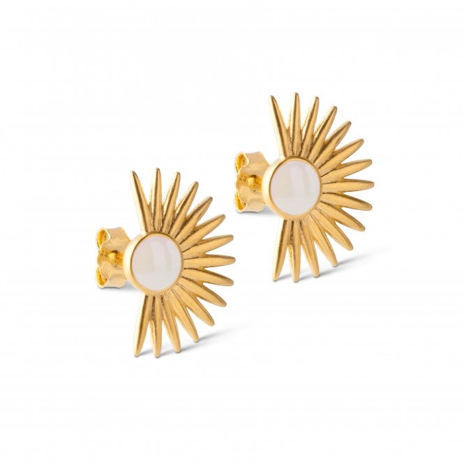Big Soleil Gold Plated Sterling Silver Earrings in Daisy