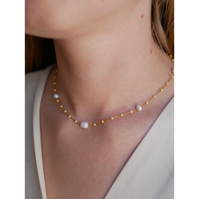 Lola Perlita Gold Plated Sterling Silver Necklace in Lemone and Pearl