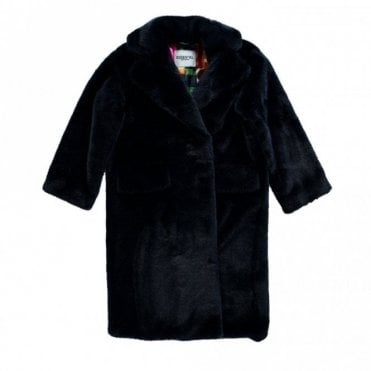 Remire Blue Oversized Faux Fur Coat