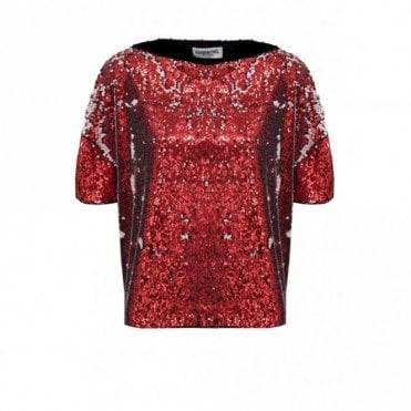 River Oversized Sequin Top in Red and Pink