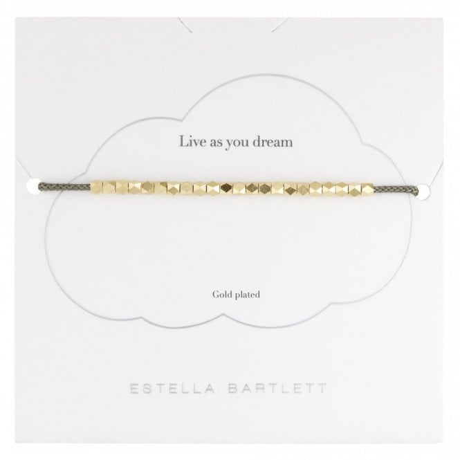 Estella Bartlett Coco Bracelet in Grey with Gold Beads