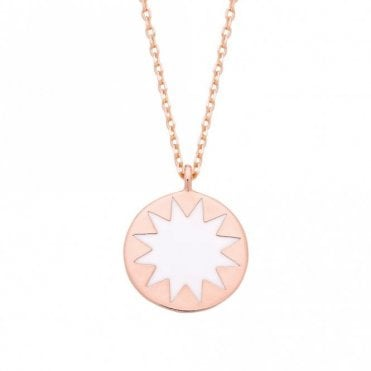 Enamel Disc Rose Gold Plated Necklace