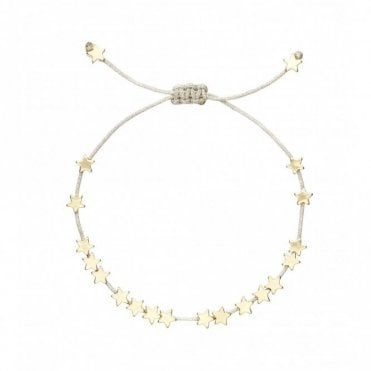 Gold Stars So Bright Bracelet with Silver Metallic Cord