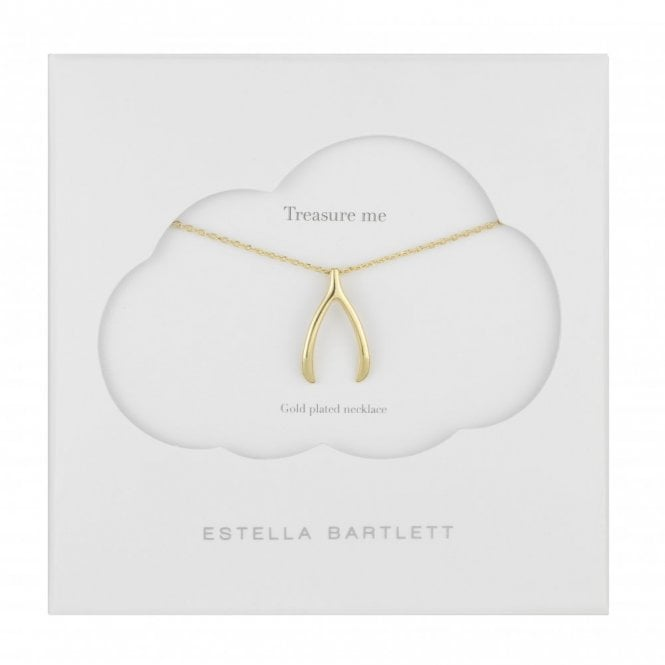 Estella Bartlett Large Lucky Gold Plated Wishbone Necklace