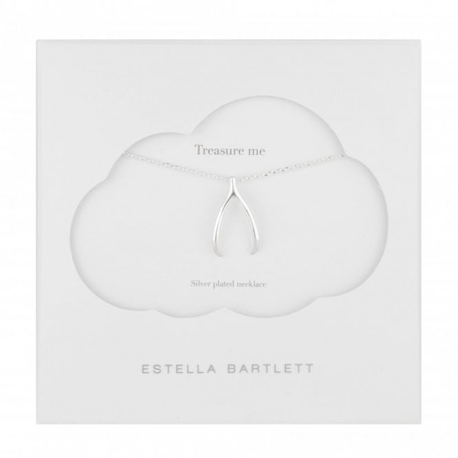 Estella Bartlett Large Lucky Silver Plated Wishbone Necklace