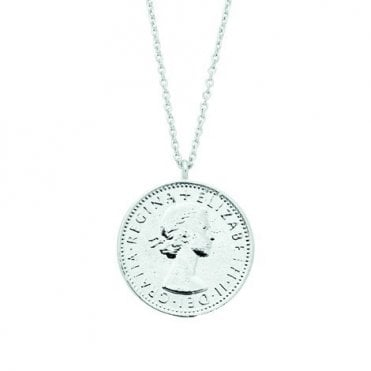 Lucky Sixpence Silver Plated Necklace