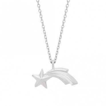 Textured Shooting Star Silver Plated Necklace