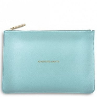 Perfect Pouch - Adventure Awaits in Metallic Aqua
