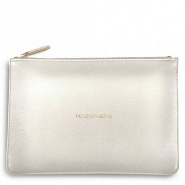 Perfect Pouch - Hello Gorgeous in Metallic White