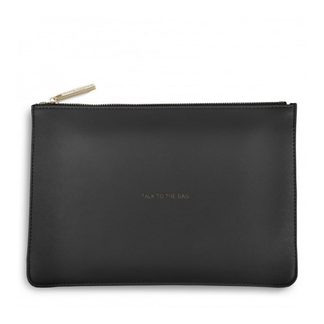 Katie Loxton Perfect Pouch - Talk To The Bag in Charcoal