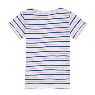 381772d2d9 Amour Short Sleeve Sailor T-Shirt in Pink Blue and White Stripe