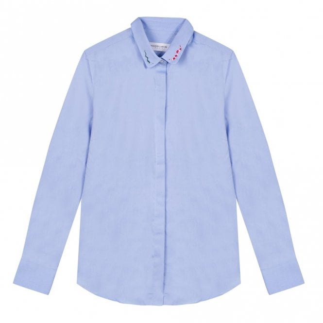 Maison Labiche Claudine Snakes Shirt in School Blue