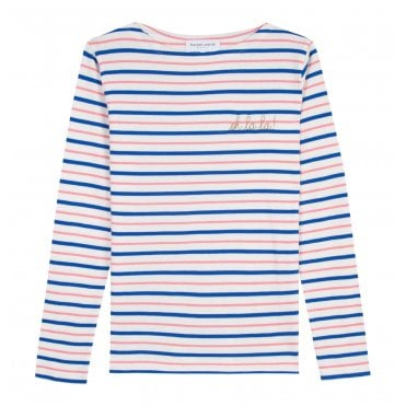 c9d45820a3 Oh La La Long Sleeve Sailor T-Shirt in Pink Blue and White Stripe