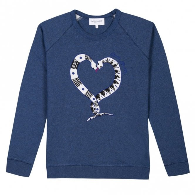 Maison Labiche Snakelove Embroidered Sweater in Navy