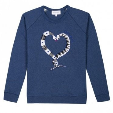 Snakelove Embroidered Sweater in Navy