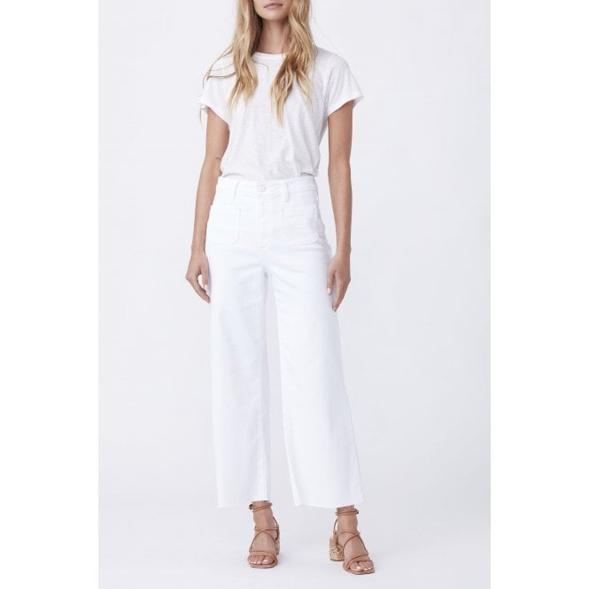 Anessa Patch Pocket Jeans with Raw Hem in Crisp White