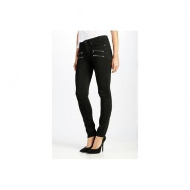 Edgemont Mid Rise Skinny Jeans in Black Shadow