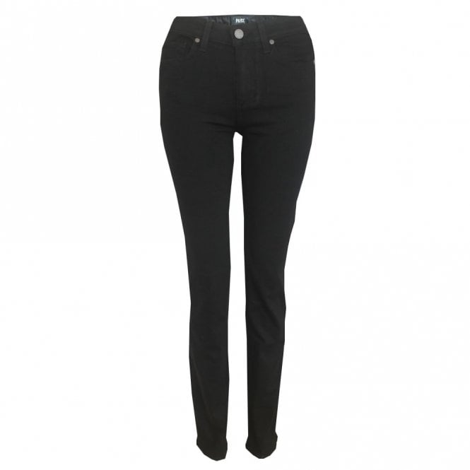 Paige Denim Hoxton High Rise Straight Jeans in Black Shadow
