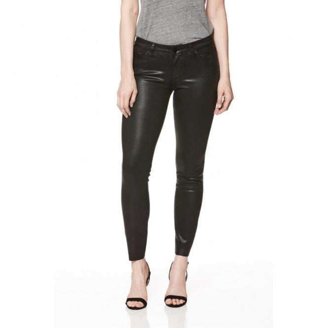 Paige Denim Verdugo Ankle Jeans with Raw Hem in Black Fog Luxe Coating
