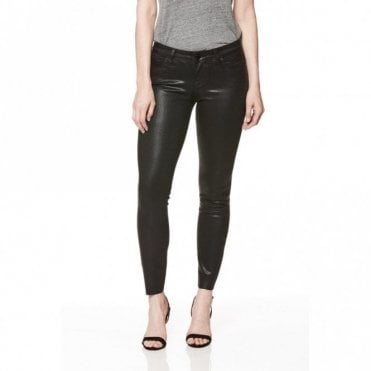 Verdugo Ankle Jeans with Raw Hem in Black Fog Luxe Coating