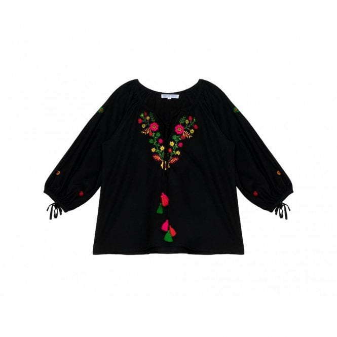 Pink City Prints Nomad Frida Top in Black