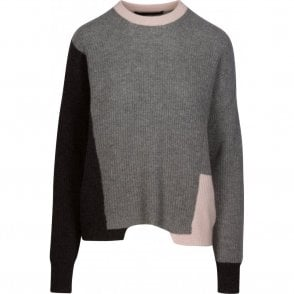 Akima Ribbed Colour Block Cashmere Jumper in Graphite, Grey and Buff