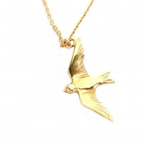 Gold Plated Flying Swallow Necklace