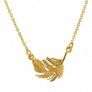 Gold Plated Small In-Line Feather Necklace