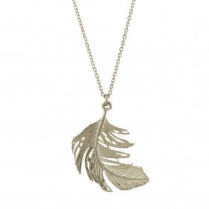 Silver Big Single Feather Necklace