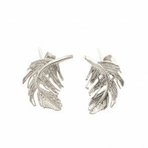 Silver Plated Feather Stud Earrings