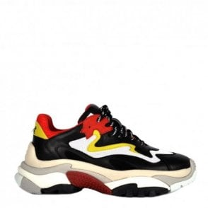 Addict Trainers in Black Leather and Red Mesh
