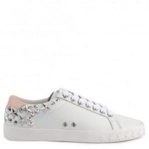 Dazed Studded Trainers in White and Powder