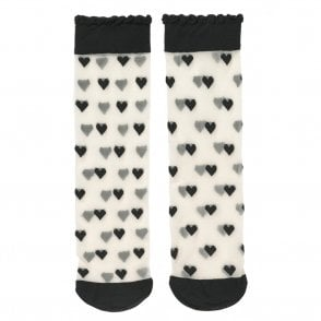 Dagmar Hearts Socks in Black