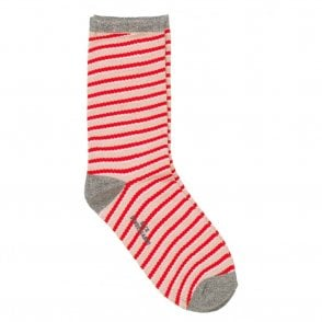 Duca Stripes Socks in Hot Coral