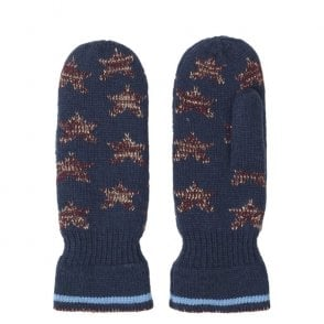 Emerald Lurex Star Mittens in Classic Navy