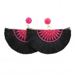 Crescent Fan Earrings - Black & Pink