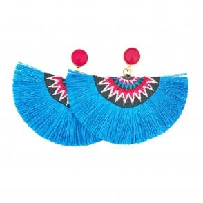 Crescent Fan Earrings - Blue & Pink