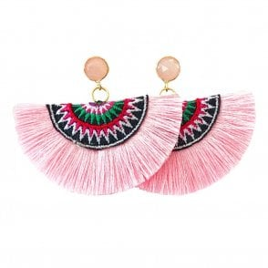 Crescent Fan Earrings - Light Pink