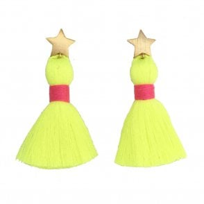 Star Tassel Earrings - Neon Yellow