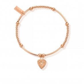 Cute Mini Decorated Heart Bracelet in Rose Gold
